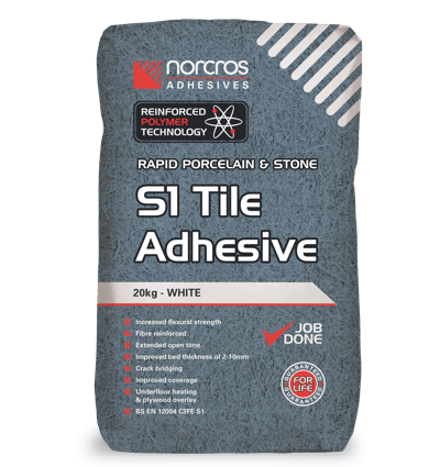 Rapid Porcelain and Stone S1 Tile Adhesive - White