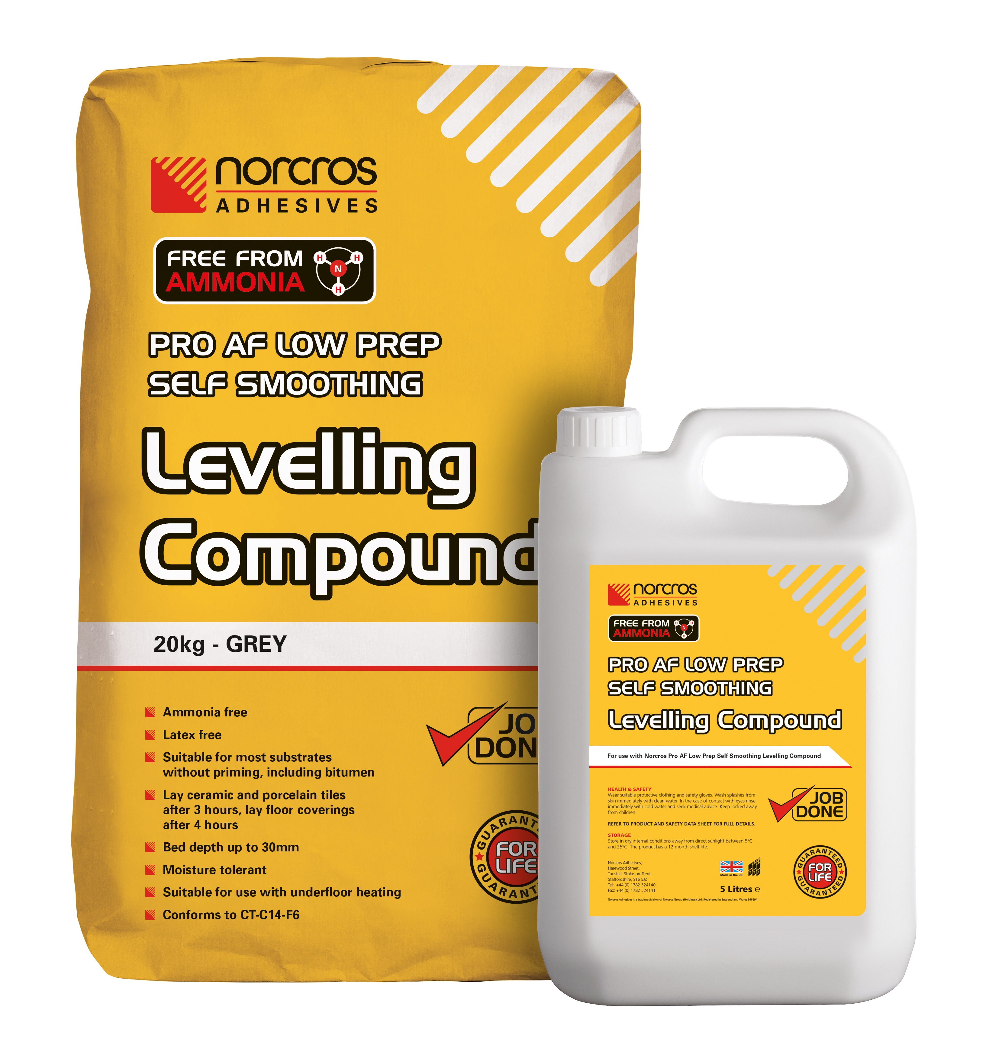 20kg bag of Pro AF Levelling Compound and 5L liquid container